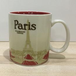 Starbucks café xícara cerâmica on-line-16 oz Capacidade De Cerâmica Starbucks Cidade Caneca Melhor Clássica Caneca De Café Copa Paris Cidade