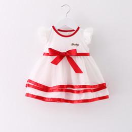 Wholesale korean wearing dresses - 2017 summer new children's wear children's dress girls Korean version of the BABY ribbon princess net yarn dress