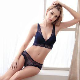 Noble sexy bra sets ladies underwear bra four rows of four buckle deep V  gather side to receive the bra set TZ34609036 W 31a77142e