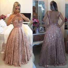 Wholesale Custom Made Club Dresses Online - Sparkly Long Beaded Evening Dresses 2017 Sheer Illusion Tulle Neck Lace Sexy Open Back Formal Evening Gowns Cheap Party Prom Dress Online