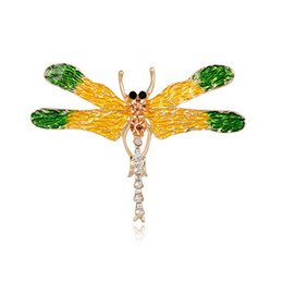 Wholesale Women Korean Accessories Wholesale China - Insect Series High Grade Women Korean Cartoon Alloy Painted Enamal Rhinestone Brooches Pin Dragonfly Corsage Girl Accessory