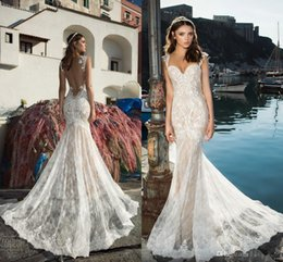 Wholesale Gold Double Neck - 2017 Sexy Backless Lace Mermaid Wedding Dresses Sweetheart Double Strap vestidos de novia Champagne Underlayer Sweep Train Beach Bridal Gown