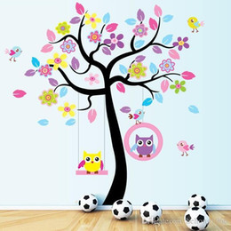 Wholesale Owls Decal - Wall Sticker Large Tree Decal Cute Owl Cartoon Stickers DIY Creative Backdrop Pastoral Style Kid Room Home Decor 8 5kx F R