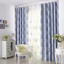 Wholesale Window Double Curtains - Blackout Window Drapes Modern Window Treatments Tree Pattern Soft Durable Stylish Curtains 2 Panel Curtain Cloth And 2 Panel Gauze 3 Sizes