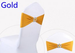 Wholesale decoration for belts - Gold colour Crown buckle lycra sash for wedding chairs decoration spandex band stretch bow tie lycra ribbon belt on sale