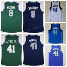 Wholesale Dry Goods - Men Retro 8 Deron Williams Jersey Navy Blue White Green Color Throwback 41 Dirk Nowitzki Shirts Uniforms Rev 30 New Material Good Quality