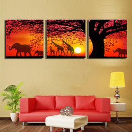 Wholesale Combination Sofa - Decorated The setting sun set the scene picture Art Paints on Canvas Painted Spray painting for Sofa Wall Decoration No Frame