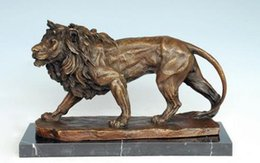 Wholesale Lion Drawings - Brass Crafted Human Vintage Bronze Sculpture Lion Statue Animal Lions Carving Hotel Office Decoration Business Gifts