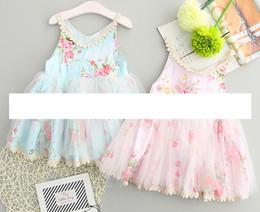 Wholesale Embroidered Dress Short - baby easter dresses Girls Sleeveless floral vest dress girl Flower Princess Dresses Kids Fluffy Tutu Dress Children Summer party Dress