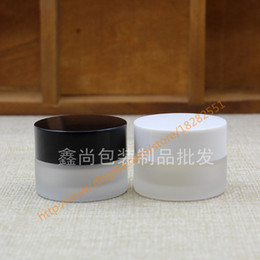 Wholesale Black Glass Cosmetic Jars - wholesale 5g clear frosted glass cream jar with black white plastic lid, 5 gram cosmetic jar,packing for sample eye cream,mini jar