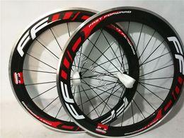 Wholesale Alloy Clincher Rims - FFWD 3K Carbon Road Bike Clincher Wheelset 60mm Alloy side Wheel Rim holes : 20 24 16 20 wheels with Poweway R13 hub