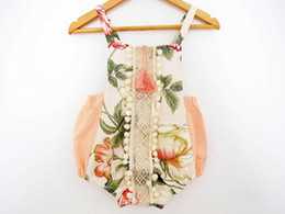 Wholesale Newborn Jumpsuits - 2017 summer baby girl lace floral rompers Newborn Infant child Girl sweet Clothes Tassels Strap Lotus Romper Bodysuit Jumpsuit