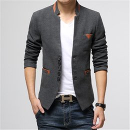 Wholesale Woolen Suits For Men - Wholesale- Male Business Suits 2017 Spring Casual Slim Fit Woolen Blazer Men's Korean Style Fashion Stand Collar Suit Coat For Man lxy828