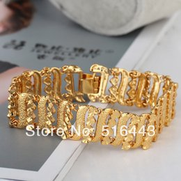Wholesale Flag Link - Upsacle Jewelry Charms Never Fade Real 18K Gold P heart Womens Mens Bracelets Fine Jewelry A967