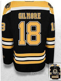 Wholesale Hockey Jerseys Sizes - 2017 New Boston Bruins Hockey Jerseys #18 Happy Gilmore Black White Mens Embroidery Jersey,Mixed Orders Good Quality Size S-4XL