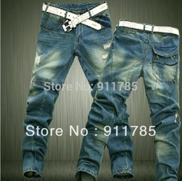 Wholesale tapered jeans men - Wholesale-2015 new brand Dimensional cut Cat whisker denim washed ripped jeans men loose blue casual Tapered jeans for men,plus size 28-42