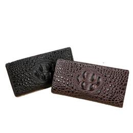 Wholesale Interior Alligator Crocodile - Casual leather wallet new 2017 leather crocodile pattern men's business card holder leather large-capacity handbag long section zipper handb