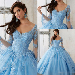 Wholesale Corset Ruffle Prom Dress - 2016 Sheer Sky Blue Long Sleeve Ball Gown Plus Size Quinceanera Dresses V Neck Lace Appliques Corset Long Prom Sweet 16 Gowns