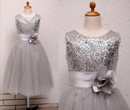 Wholesale Silver Christmas Dress - Silver Ivory Sequins Flower Girl Dress Baby Infant Toddler Kids Dress Junior bridesmaid Dress Ruffle Flower Baby Girl Dress Christmas Dress