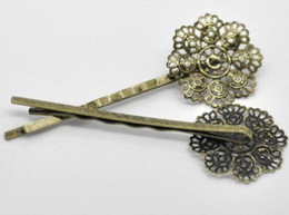 Wholesale Hair Bronze Diy - 60pcs lot women's fashion antique bronze plated hollow 8 petal flower hair cilps DIY jewelry accessories side clip hair jewelry 6.4x2.3cm