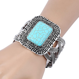 Wholesale Vintage Turquoise Cuff - 10PCS Vintage Exaggerated Turquoise Cuff Bangle, Women Square Stone Bangles Antic Silver Cross Design Bangle Free Shipping