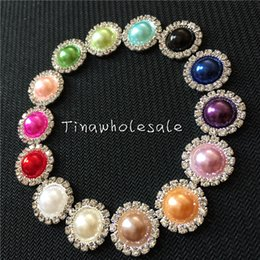 Wholesale Flat Back Pearl Buttons Wholesale - 15mm COLORFUL flat back wholesale rhinestone pearl embellishment button for DIY wedding invitation card ,baby hair accessory 100pcs lot