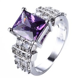 Wholesale Amethyst White Gold Engagement Ring - JUNXIN Male Female Big PurplFashion Small Purple Round Ring Cute Princess White Gold Ring Promise Engagement Rings For Women Girlfriend Gift