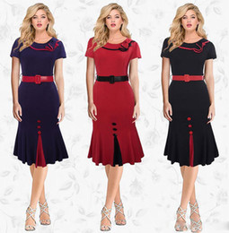 Wholesale Tall Casual Dress - In the spring of the new big yards of tall waist Europe and the United States women's short sleeve dress OL vocational ruffled skirt teamed