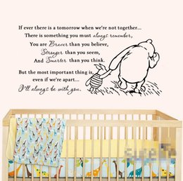 Wholesale Baby Wall Stickers Winnie - 2016 Vinyl Classic Winnie the Pooh If Ever There Is A Tomorrow Baby Quote Wall Decal Nursery Wall Stickers Wallpaper D460