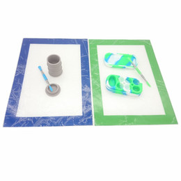 Wholesale Mats Pads - Silicone Wax Container Tool Dabber Oil Dab Tool Jar Kit With 11.81*8.27 inch Mat Pad Set For Wax 6+1 Containers Jars