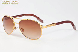 Wholesale plastic sports horn - with box 2017 oversized sunglasses for men brand designer buffalo horn glasses women screw wood legs aviator sunglasses