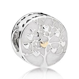 Wholesale Pandora S925 - S925 Sterling Silver Bead Charm With Enamel Family Tree With Gold Color Love Heart Bead Fit Pandora Bracelet Bangle DIY Jewelry