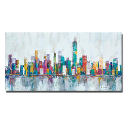 Wholesale Colorful Abstract Art Oil Paintings - Free Shipping Decor Oil Painting Abstract Building Wall Pictures Modern Canvas Art Painting for Living Room Colorful Oil Painting No Framed