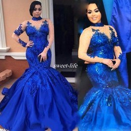 Wholesale Stunning High Neck - Fashion High Neckline Prom Dress Illusion Long Sleeve Sequined Applique Mermiad Evening Gowns 2017 Stunning Royal Blue Celebrity Party Dress