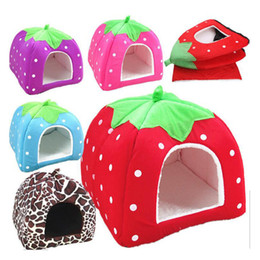 Wholesale Pet Cave - Ortilerri Soft Strawberry Cave Pet Dog House Nest Cat Rabbit Bed House Cute Kennel Nest Washable Cushion Baskets for Puppy Home