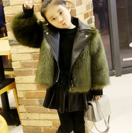 Wholesale Girls Peacoat - Kid Childrens New Winter Thicken Girls Fur Leather Stitching Peacoat Parka Luxury Warm Gift 6Colors New
