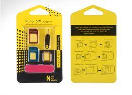 tarjeta delgada móvil Rebajas Nuevo adaptador de tarjeta SIM de metal plateado Tarjeta Nano Slim para Micro Estándar Slim 5 en 1 con tarjeta SIM Pin para todos los dispositivos de telefonía móvil en venta