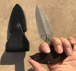 Wholesale Mini Push - Damascus edge Cold Steel Push Dagger mini Fixed Blade Knife Punching Knives multifunction ourdoor Hiking Camping hand tool survival