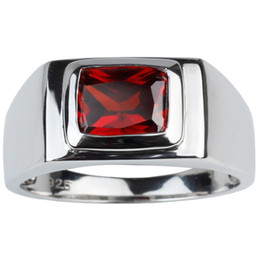 Wholesale Solid Silver 925 Man Rings - Solid 925 Silver Ring Men Jewelry 7x9mm Garnet Red Cubic Zirconia Father's Day Gift Solitaire Design R509RG