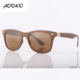 Wholesale Girls Grey Tops - AOOKO Top Quality UV Protection Square Sunglasses Men Brand Designer Glasses Hikers Travel Matte color Frame Glass Lens women Sunglass 52mmA