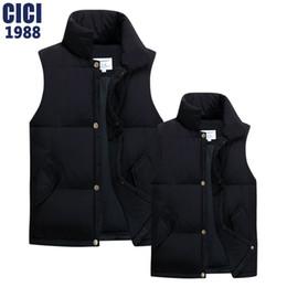 Wholesale Korean Men Winter Vest - Wholesale- The new men's and women's autumn winter couple vest Korean solid collar down vest fashion men leisure coat vest 55