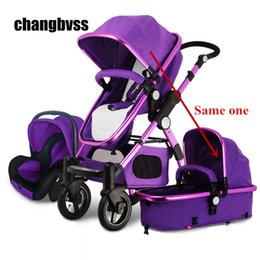 Wholesale Luxury Prams - New Arrival Brands Luxury Baby Stroller 3 in 1 High Landscape Kids Baby Pram with Car Seat poussettes 3 en 1 Free Shipping