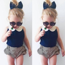 Wholesale Sleeveless Shirts Toddler Boys - Wholesale- Toddler Kids Baby Girls Clothes Sets 2pcs Summer Beach Outfits Clothes T-shirt Tops + Shorts Striped 2PCS Set Girl Clothing