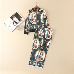 Wholesale Coat Pant Stand Collar - The new Europe and the United States women's 2017 spring Runway looks characters printed coat + 7 minutes of pants suit