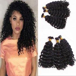 Wholesale Hair Extensons - Mongolian Deep Wave Curly Bulk Human Hair Extensons No Weft 3 pcs lot Bulk Hair for Braiding FDSHINE HAIR