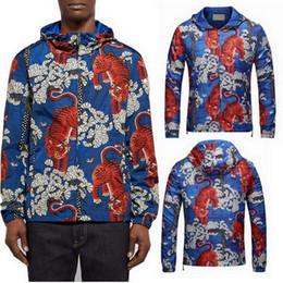 Wholesale Short Jacket Long Sleeve - 3D Printed Hooded Windbreak Jacket Men Printing Tiger Floral Casual Polyester Wear Men Drawstring Trims Hood Jackets