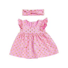 Wholesale Cute Smocks - Cute Baby Girls Dress Ruffle Sleeve Smock Girls Dress Outfit Gold Polka Dots Kids Birthday Dress with Headband Toddler Dresses