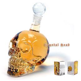 Wholesale Skull Hip Flask - Crystal Skeleton Head Clear Glass Bottles Crystal Skull Shot Glass Whiskey Vodka Wine Flask Bottle Novelty Hip Cup 1000ml