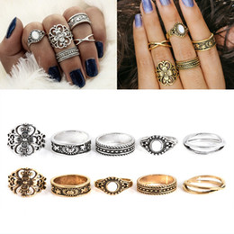 Wholesale gold stackable ring set - New Bohemian 5pcs Set Retro Rings Lucky Stackable Midi Ring Set Rings for Women Party Jewelry 2017 New Rings Styles Girl Gift D28S