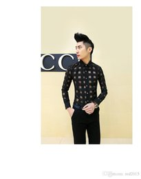 Wholesale Mens Chiffon - Wholesale-New Fashion Lace Chiffon casual men shirt sexy mens see through shirts designer clothes,plus size dresses xxxl,white black